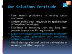 our solutions fortitude