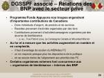 dgsspf associ relations des bnp avec le secteur priv