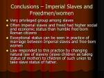 conclusions imperial slaves and freedmen women