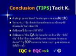 conclusion tips tacit k
