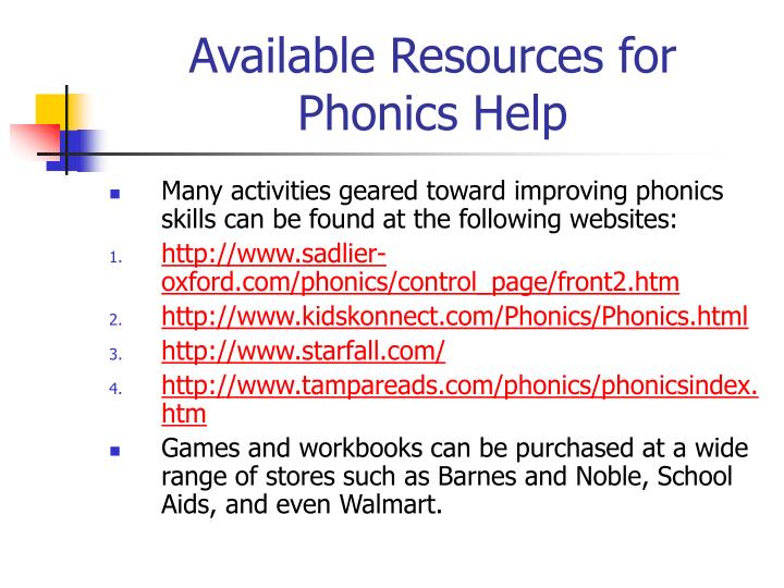 Available Resources for Phonics Help