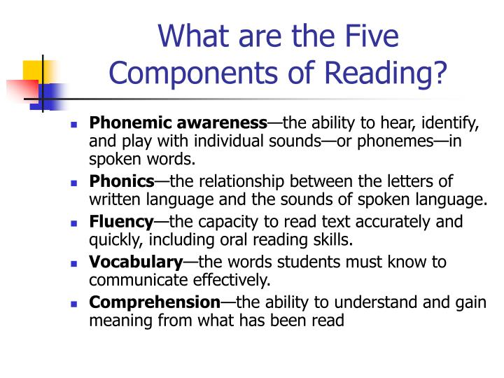 What are the five components of reading