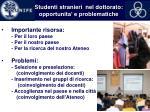 studenti stranieri nel dottorato opportunita e problematiche