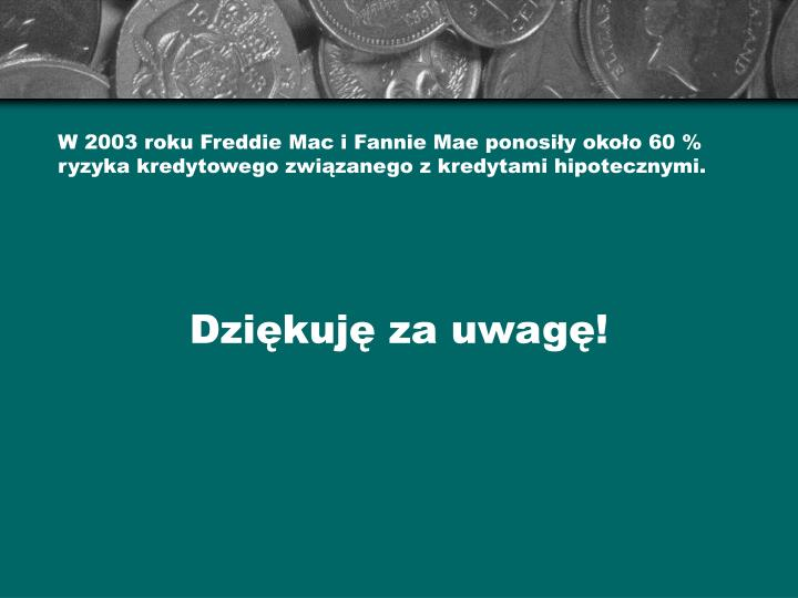 W 2003 roku Freddie Mac i Fannie Mae ponosiły około 60 % ryzyka kredytowego związanego z kredytami hipotecznymi.