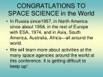 congratlations to space science in the world