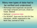 many new types of data had to be verified and understood
