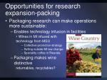 opportunities for research expansion packing