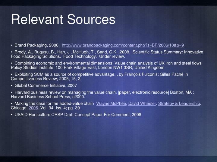 Relevant Sources