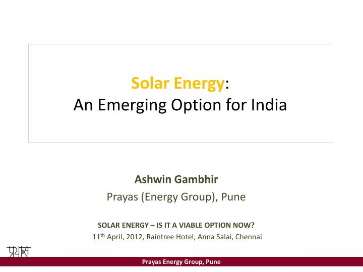 solar energy an emerging option for india n.