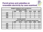 permit prices and subsidies on renewable electricity by case examined