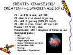 creatin kinase ck creatin phosphokinase cpk