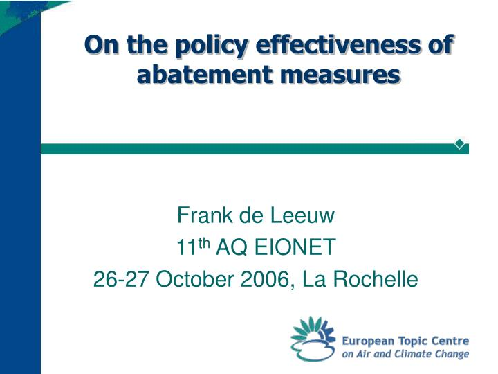 on the policy effectiveness of abatement measures n.