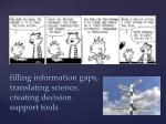 filling information gaps translating science creating decision support tools