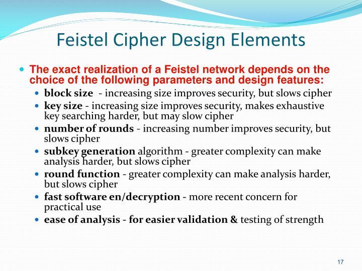 Feistel Cipher Design Elements