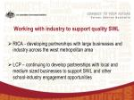 working with industry to support quality swl