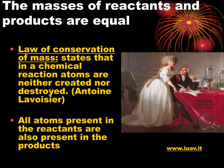 The masses of reactants and products are equal