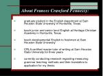 about frances crawford fennessy