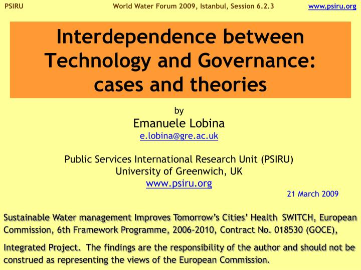 interdependence between technology and governance cases and theories n.