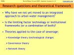 research questions and theoretical framework