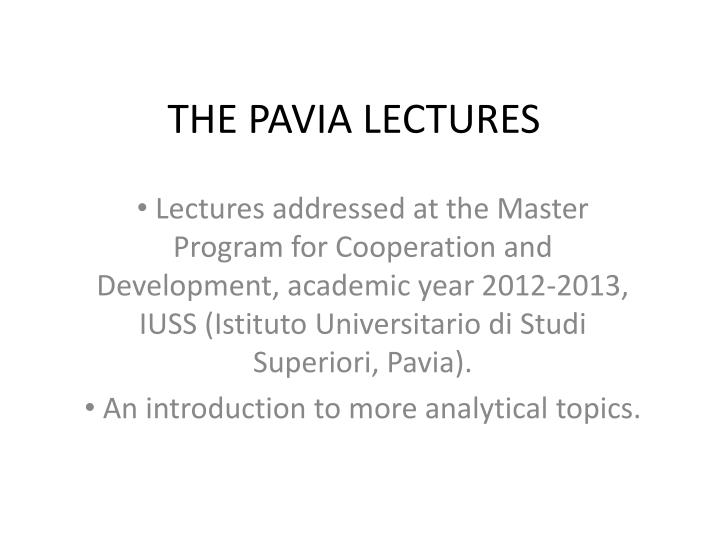 the pavia lectures n.