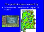 new protected areas created by