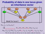 probability of data in one locus given an inheritance vector