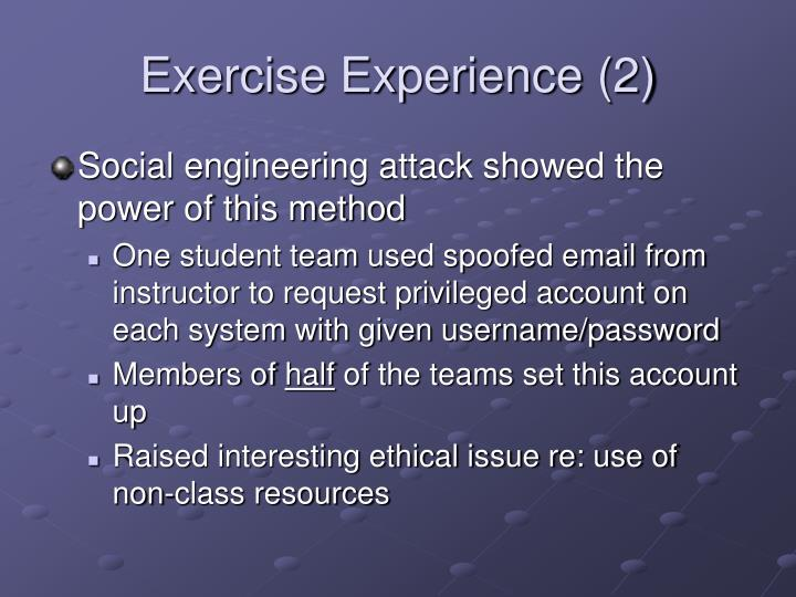 Exercise Experience (2)