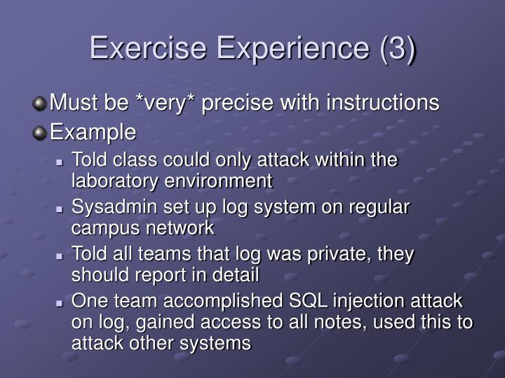 Exercise Experience (3)