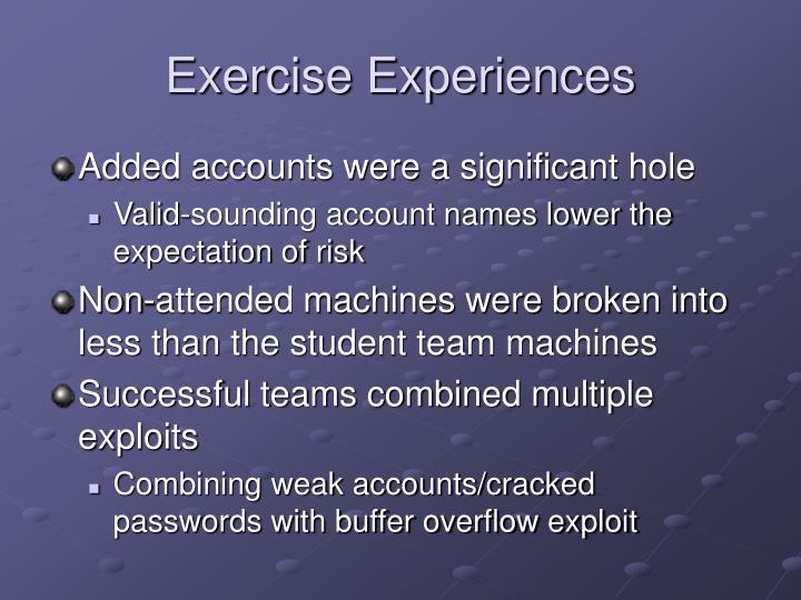 Exercise Experiences