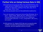 further info on using census data in gis