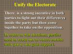 unify the electorate