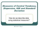 measures of central tendency dispersion iqr and standard deviation