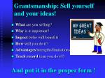grantsmanship sell yourself and your ideas