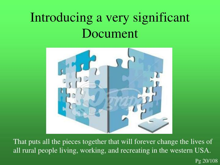 Introducing a very significant Document