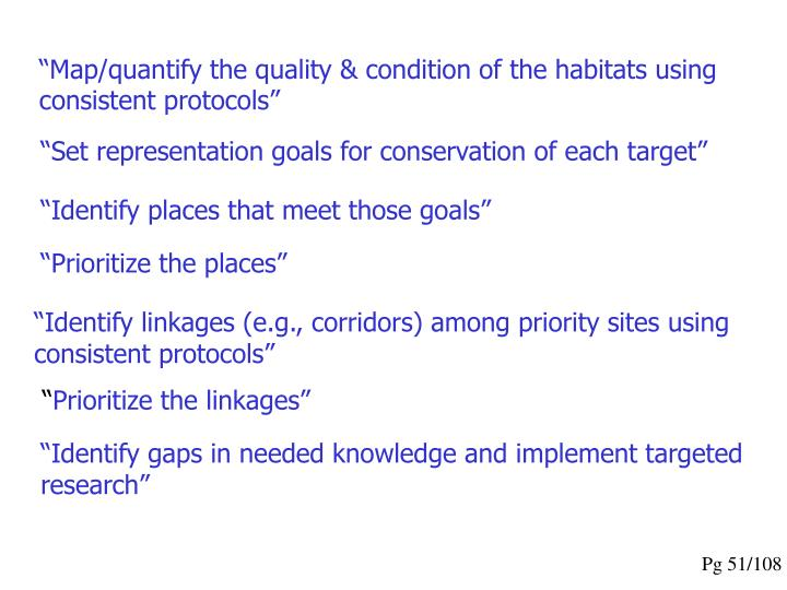 """""""Map/quantify the quality & condition of the habitats using consistent protocols"""""""