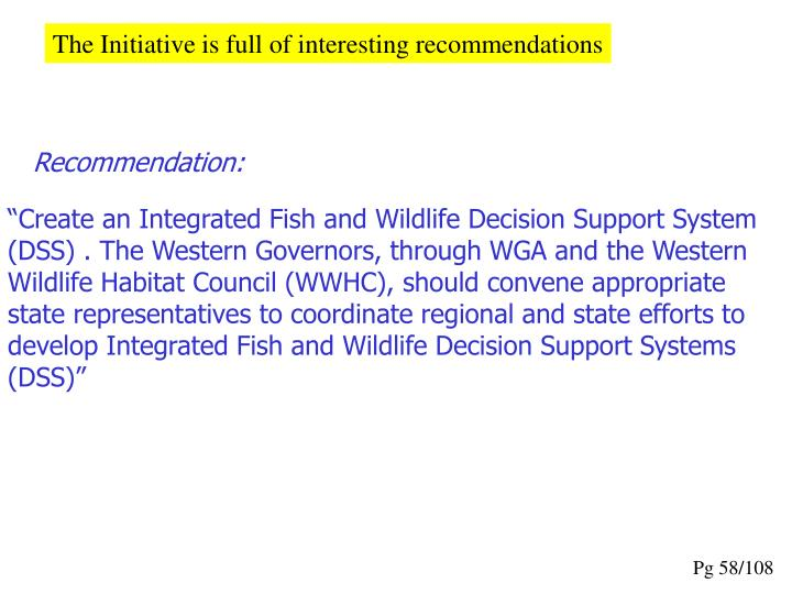 The Initiative is full of interesting recommendations