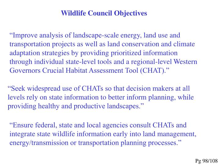 Wildlife Council Objectives