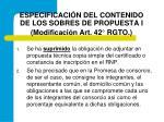 especificaci n del contenido de los sobres de propuesta i modificaci n art 42 rgto