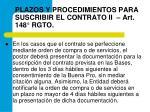 plazos y procedimientos para suscribir el contrato ii art 148 rgto