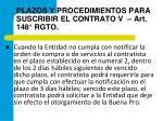 plazos y procedimientos para suscribir el contrato v art 148 rgto