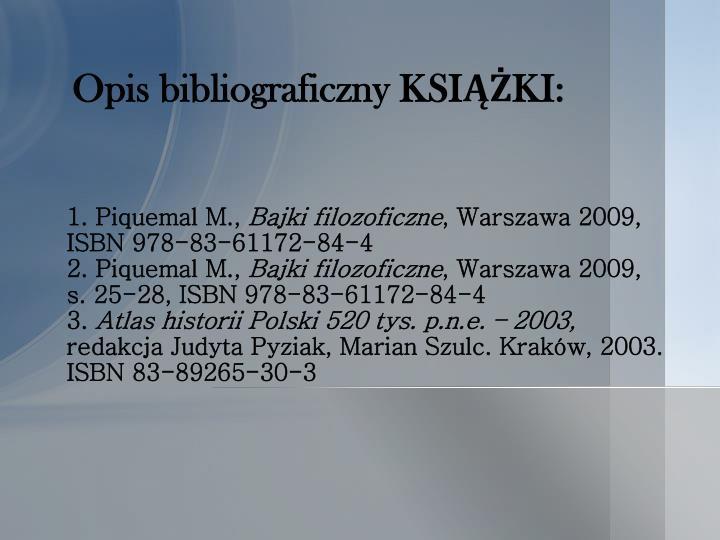 Opis bibliograficzny KSIĄŻKI: