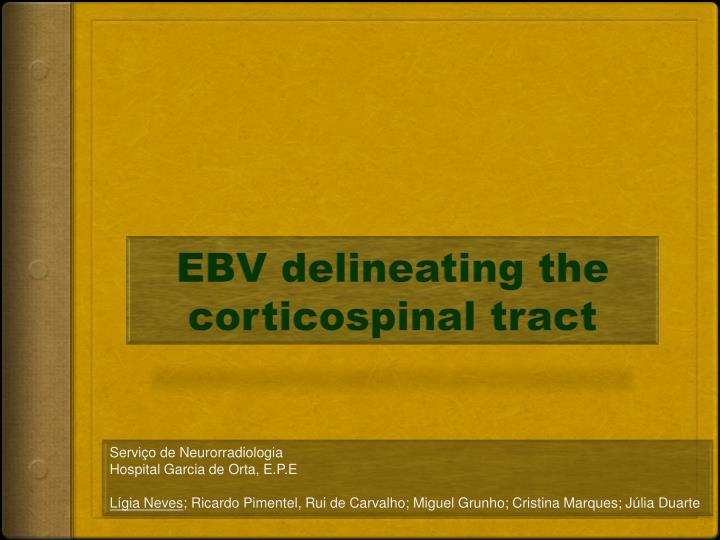 ebv delineating the corticospinal tract n.