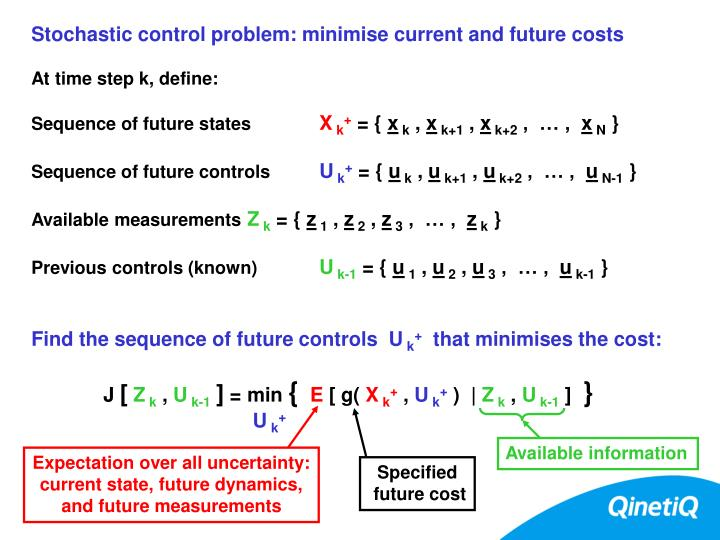 Stochastic control problem: minimise current and future costs