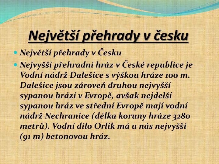 Největší přehrady v česku