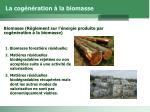 la cog n ration la biomasse