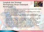 langkah dan strategi peningkatan peran kelompok perempuan