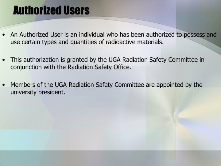 Authorized Users