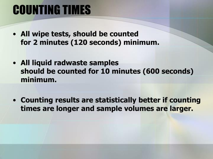 COUNTING TIMES