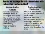 how do we manage the risks associated with radioactive contamination