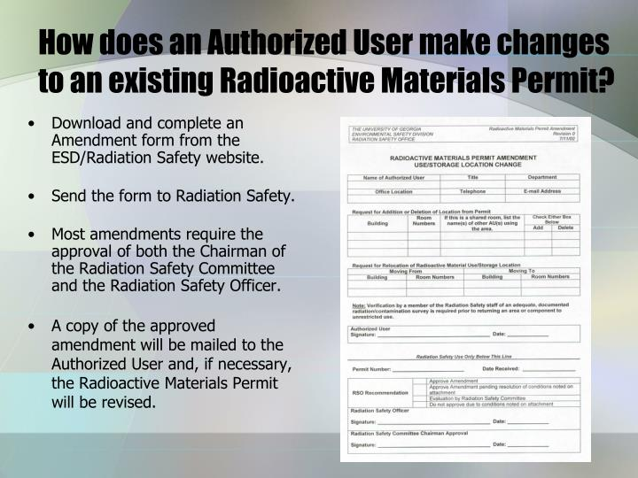 How does an Authorized User make changes to an existing Radioactive Materials Permit?